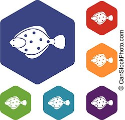 Flounder fish icons set rhombus in different colors isolated...