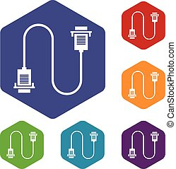 Cable wire computer icons set