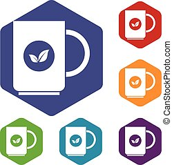 Cup of tea icons set