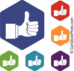 Thumb up gesture icons set rhombus in different colors...