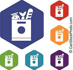 Grocery bag with food icons set rhombus in different colors...