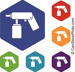Spray aerosol can bottle with a nozzle icons set rhombus in...