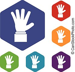 Hand showing five fingers icons set