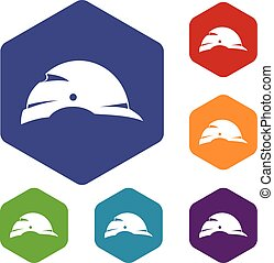 Construction helmet icons set rhombus in different colors...
