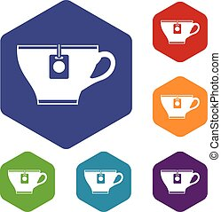 Cup with teabag icons set