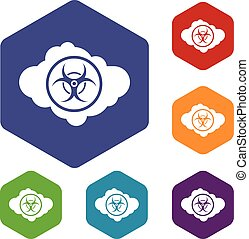 Cloud with biohazard symbol icons set rhombus in different...