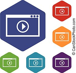 Program for video playback icons set rhombus in different...
