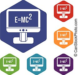 Monitor with Einstein formula icons set rhombus in different...