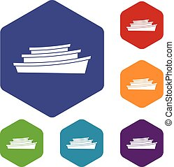 Wooden boat icons set rhombus in different colors isolated...