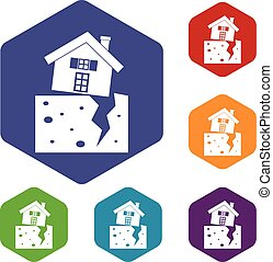 House after an earthquake icons set rhombus in different...