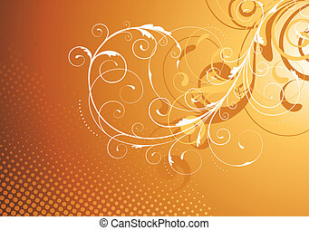 Floral Decorative background - Vector illustration of brown...