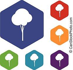 Fluffy tree icons set