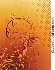 Floral Decorative background - Vector illustration of orange...
