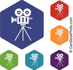Camcorder icons set rhombus in different colors isolated on...