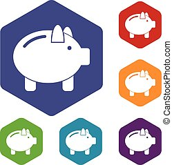 Piggy bank icons set rhombus in different colors isolated on...