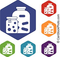 Jars with pickled vegetables and jam icons set