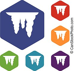 Icicles icons set rhombus in different colors isolated on...