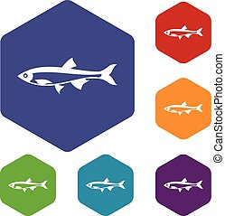 Herring fish icons set rhombus in different colors isolated...
