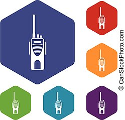 Radio transmitter icons set rhombus in different colors...