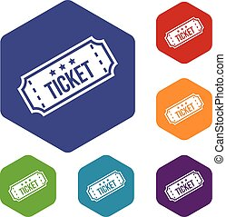 Movie ticket icons set rhombus in different colors isolated...
