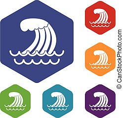 Tsunami wave icons set rhombus in different colors isolated...