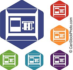 ATM icons set rhombus in different colors isolated on white...