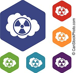 Cloud and radioactive sign icons set