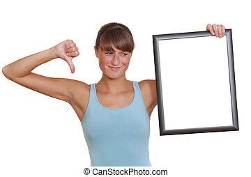 unhappy woman with picture frame