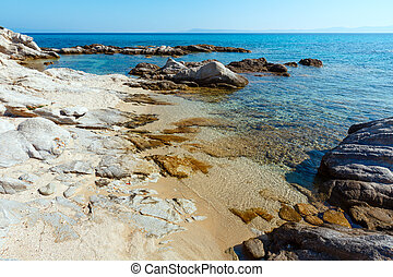 Summer Sithonia rocky coast, Greece. - Summer morning...