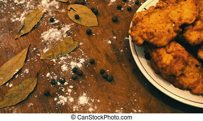 Ready-fried chicken nuggets on a plate - Ready-fried...