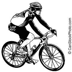 bicyclist sketch - vector