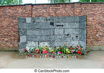 Memorial at Death Wall in Auschwitz - Memorial at Death Wall...