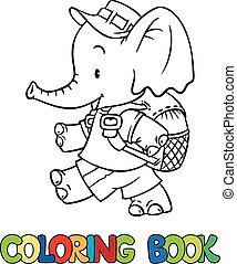 Coloring book of little baby elephant