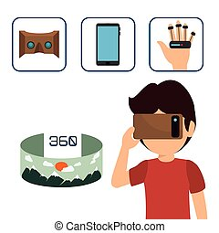 Augmented reality technology icon vector illustration design