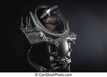 Robotic, Technology, Space man, astronaut dressed in silver...
