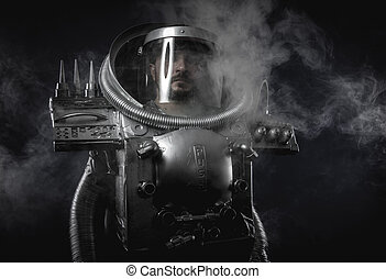 Space man, astronaut dressed in silver or metalized space...