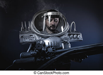 Cyborg, Space man, astronaut dressed in silver or metalized...