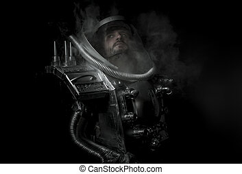 Technology, Space man, astronaut dressed in silver or...