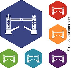 Tower bridge icons set rhombus in different colors isolated...