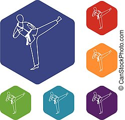 Wushu master icons set rhombus in different colors isolated...