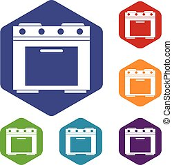 Gas stove icons set rhombus in different colors isolated on...