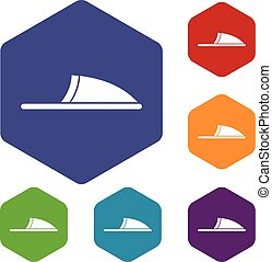Slippers icons set
