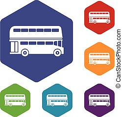 Double decker bus icons set rhombus in different colors...