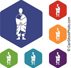 Buddhist monk icons set rhombus in different colors isolated...