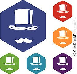 Cylinder and moustaches icons set rhombus in different...