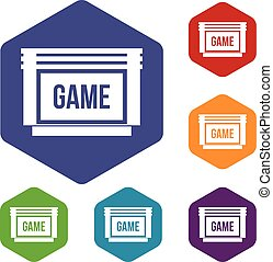 Game cartridge icons set rhombus in different colors...