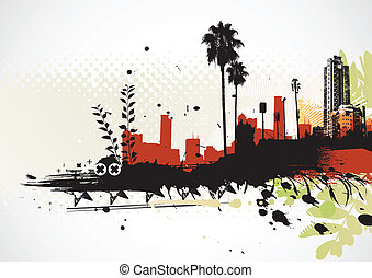 grunge urban background - Vector illustration of styled...