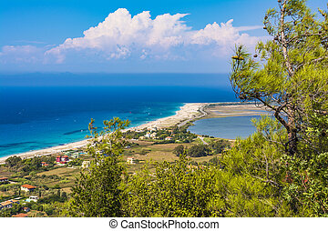 Panoramic view of sandy beach on the island of Lefkada - Ai...