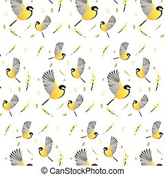 Spring background wallpaper with birds. Vector