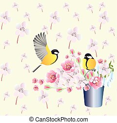 Spring background wallpaper with birds. Vector.